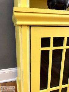 white-glaze-on-yellow-furniture, white detail, yellow and white paint, painted media console