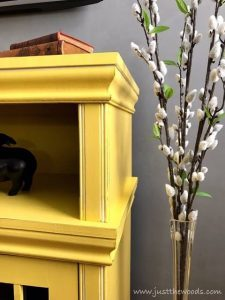 yellow-and-white-painted-furniture, painted media console, yellow, staten island, new york, shabby chic
