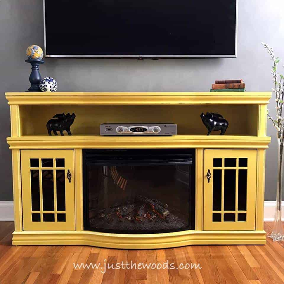 Painted Media Console In Sunshine Yellow By Just The Woods