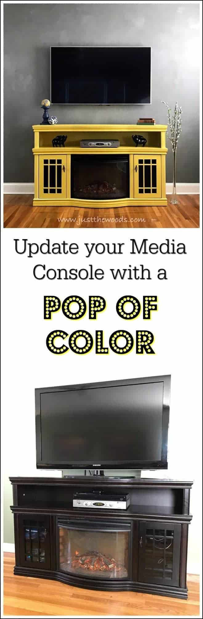 yellow-painted-media-console-pop-of-color, media console, painted furniture, shabby chic