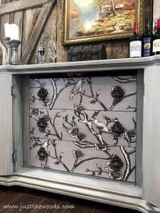 bird-fabric-decoupage, decoupage, just the woods, painted furniture blog, new york, nyc, painted furniture