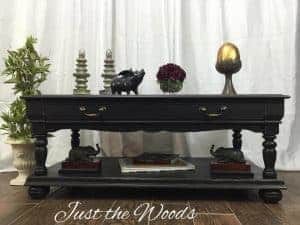 black-distressed-coffee-table, chalk paint derby, pure home paint