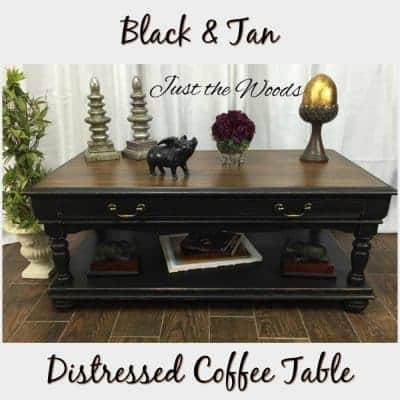 Distressed Coffee Table Makeover in Black & Tan