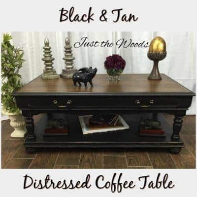 Black & Tan Distressed Coffee Table