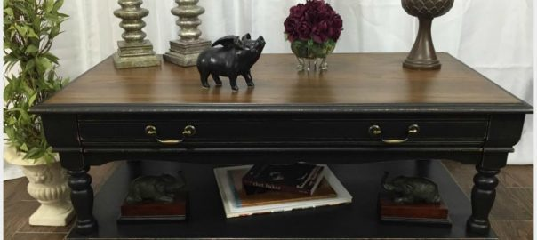 paited coffee table, distressed coffee table, black chalk paint