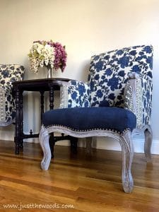 blue-and-studded-chairs, home decorators, floral arm chair, living room makeover, new york