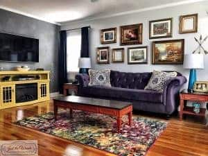bold-living-room, living room makeover, colorful room, purple sofa