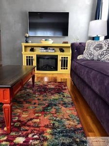 bold-media-console, painted media console, living room makeover, just the woods, staten island