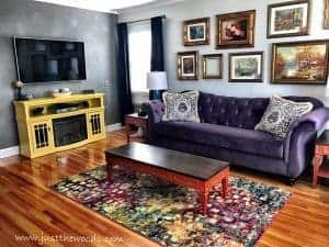 bright-colorful-living-room, living room makeover, yellow and purple room