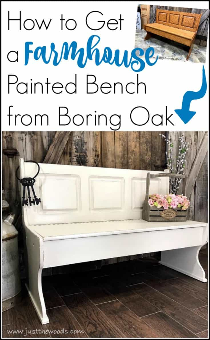 A painted furniture makeover, this farmhouse painted bench went from orange to distressed white and is now picture perfect. #paintedbench  #farmhousebench #farmhousepaintedbench  #whitepaintedbench #farmhousefurniture #whitepaintedfurniture #storagebench #paintedstoragebench #paintedbenchideas #oakbench #paintedfurniture