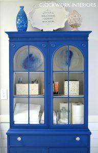 clockwork-interiors-bathroom-blue, blue painted furniture, blue painted china cabinet