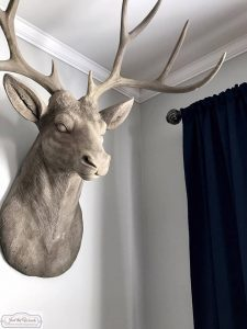 concrete-deer-head, antique farmhouse, living room makeover, gallery wall