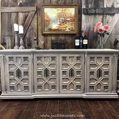 Ornate Vintage Buffet Painted Cream, White and Gray