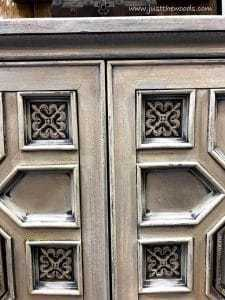 cream-gray-ornate-painted-details, painted furniture, new york, shabby chic, ornate furniture, just the woods