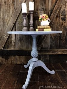 custom-painted-gray-layered-table, pineapple table, painted pedestal table
