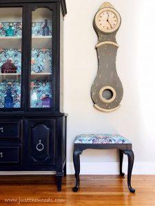 dark-purple-painted-furniture, painted vanity seat, vanity bench, reupholstered stool