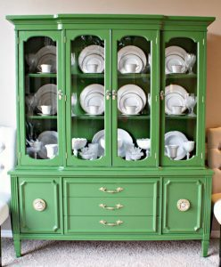 dimples-and-tangles-green-china-cabinet, bold painted furniture, green painted furniture,