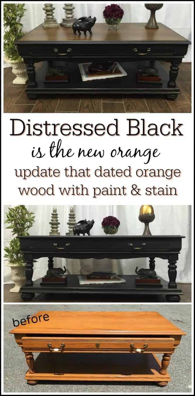 distressed-black, coffee table, new york, staten island, black paint, painted furniture
