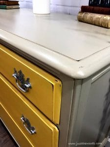 distressed-chalk-paint, distressed edges, chalk paint, yellow painted furniture, vintage painted dresser
