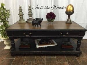 distressed-coffee-table, black chalkpaint, wood grain, new york, painted furniture, coffee table