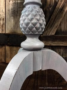 distressed-edges, pineapple table, pineapple furniture, pedestal table, pedestal table, painted round table