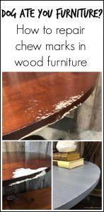 dog-ate-table, damaged wood, repair wood, wood filler, magic mud