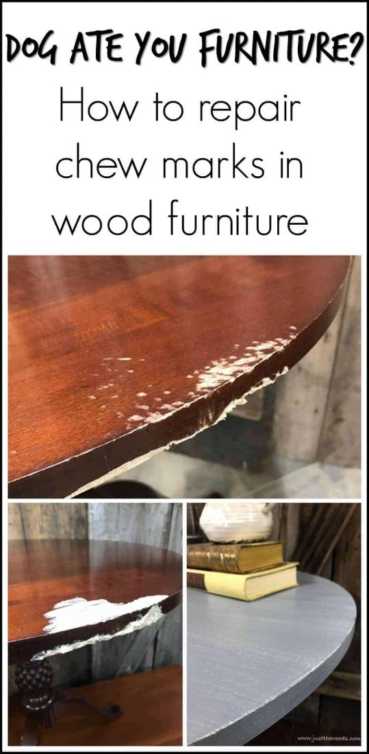 dog-ate-table, damaged wood, repair wood, wood filler, magic mud