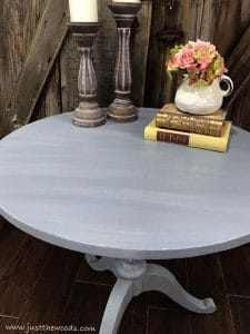 dry-brushing, painted round table, pedestal table, ethan allen, just the woods