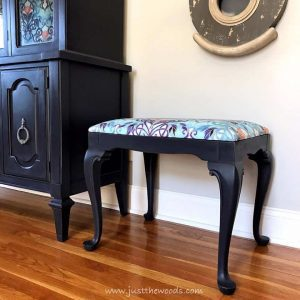 eggplant-painted-seat-with-upholstery, painted furniture, reupholstered seat, vintage furniture