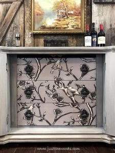 fabric-bird-print, decoupage, painted furniture, decoupage drawers