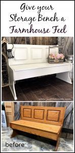 farmhouse-bench, painted bench, storage bench