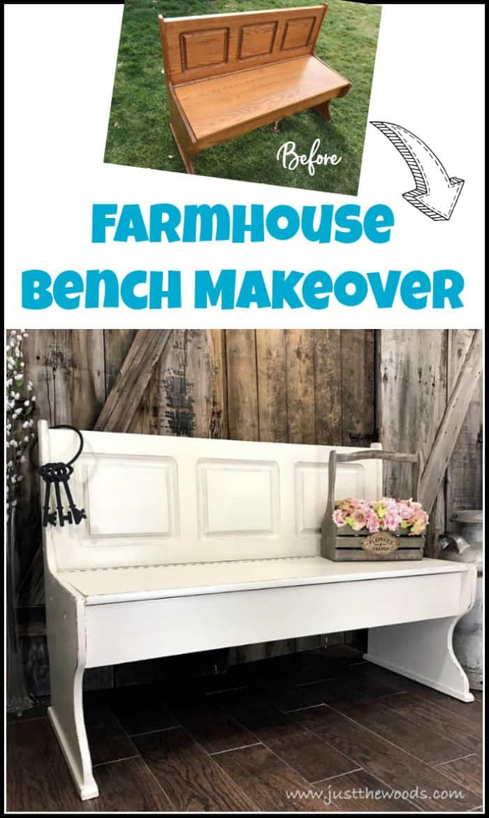 A painted furniture makeover, this farmhouse bench is transformed from orange to distressed white and is now picture perfect. #paintedbench #farmhousebench #farmhousepaintedbench #whitepaintedbench #farmhousefurniture #whitepaintedfurniture #storagebench #paintedstoragebench #paintedbenchideas #farmbench #farmhousebenchwithstorage