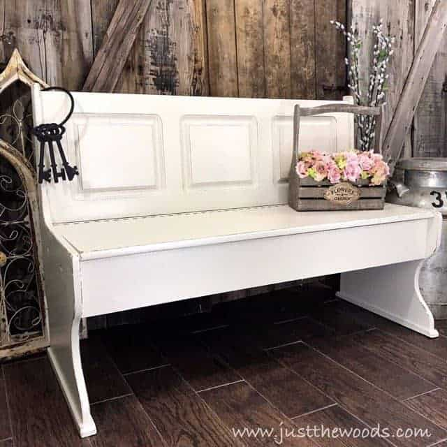 Farmhouse painted bench, Build your own bench, upcycle an old headboard, repurposed a door into a bench, painted furniture this collection of repurposed, upcycled & DIY benches has it all.