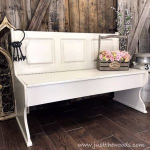 farmhouse-style-off-white-painted-bench, storage bench, painted bench, just the woods, staten island