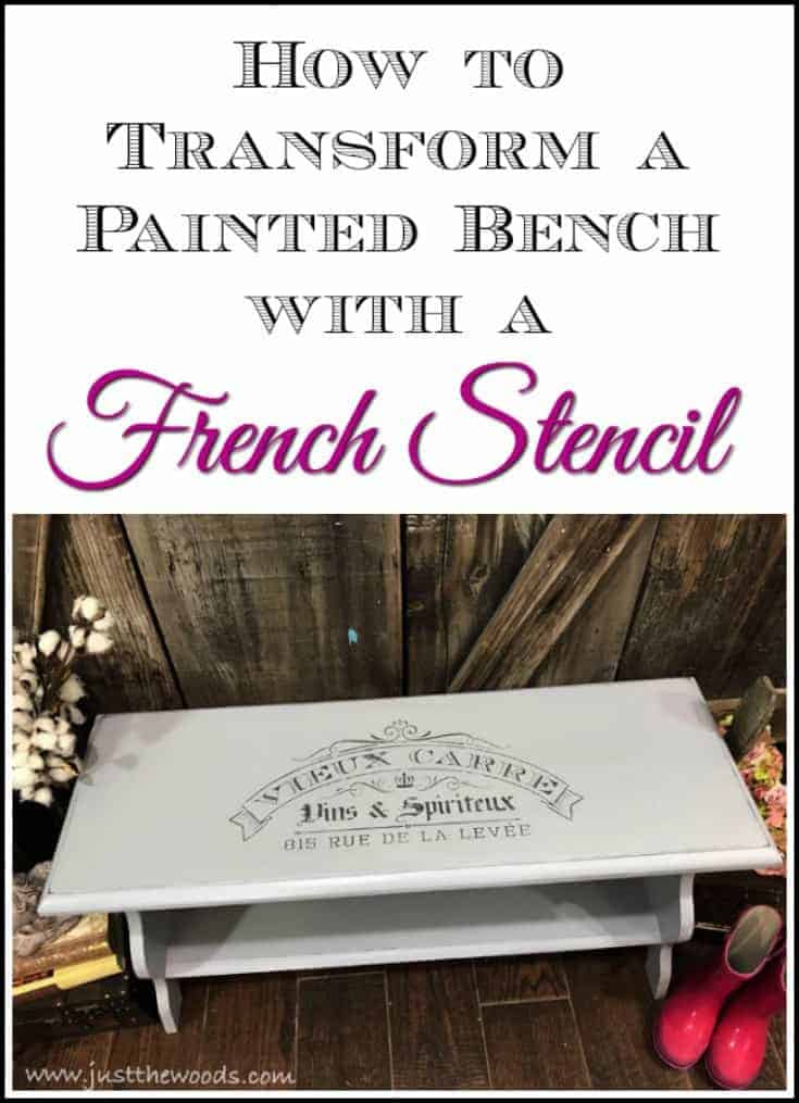 A painted bench makeover. With distressed edges and a French stencil, this painted bench will surely wow any entryway. French Bench makeover