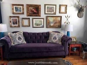 gallery-wall, living room makeover, home decor, just the woods, new york, painted furniture, vintage style