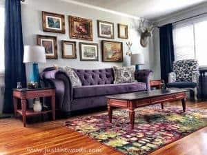 gold-gallery-wall-purple-room, living room, orange purple living room, colorful decor