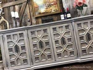 gray-cream-painted-furniture, ornate painted buffet, painted vintage furniture, new york, chalk paint