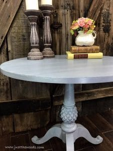 gray-painted-layered-table, how to dry brush, how to paint layers, chalk paint