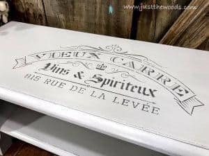 gray-stencil-on-bench, painted bench, french stencil, gray chalk paint, gray paint