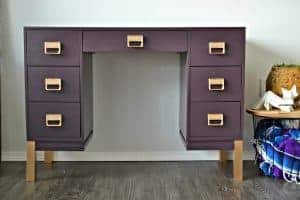 hashtagblessed-plum-desk, bold purple desk, purple painted furniture, bold painted furniture