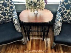 home-decorators-arm-chairs, painted furniture, parlor table, living room makeover, blue arm chairs