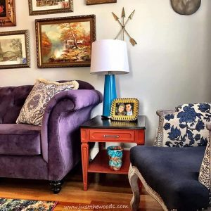 indigo-chairs-and-bold-lamps, lamps plus, teal lamps, orange painted tables, living room,