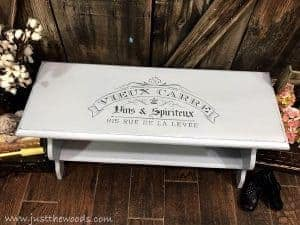 light-gray-painted-bench, pained bench with french stencil, stencil painted furniture, french bench
