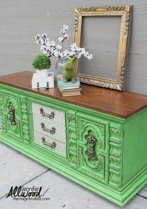 magic-brush-green-buffet green painted furniture,just the woods, bold painted furniture, green and gold