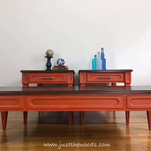 mcm-painted-furniture, orange painted tables, bold painted furniture, orange painted furniture