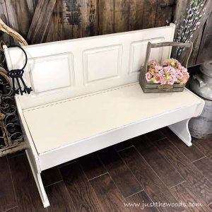 off-white-painted-farmhouse-bench, painted bench, painted furniture, chalk paint, pure home paint, vintage lace