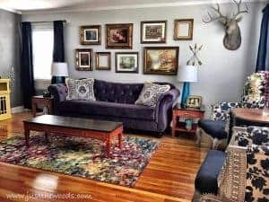 ornate-frame-gallery-wall, vintage style, living room makeover, orange yellow purple living room, new york
