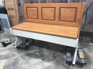 paint-bottom-first, painted bench, farmhouse painted bench, distressed white, chalk paint