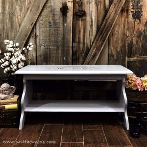 painted-gray-bench, gray chalk paint, pure home paint, just the woods, painted bench, shabby chic, wet distress